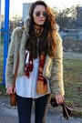 Cream-ae-woman-faux-fur-jacket-cream-c-a-shirt-ruby-red-kaapahl-scarf
