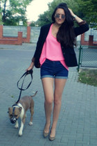 black Topshop jacket - blue H&M shorts - hot pink H&M blouse