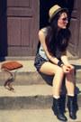 Black-vintage-shoes-teal-esprit-dress-tan-kaapahl-hat-crimson-vintage-bag-