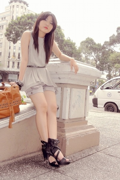 black Forever21 shoes - gray satin shorts - gray loose tank top