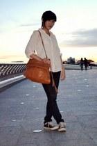 Bata bag - skinny Forever21 jeans - sheer Forever21 shirt - Converse sneakers