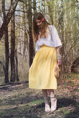 light yellow DIY skirt - eggshell River Island heels