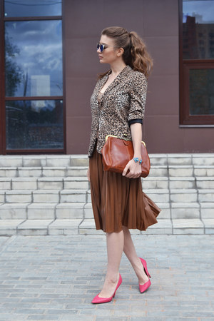 brown OASAP bag - blue OASAP sunglasses - brown Zara skirt - hot pink Zara pumps