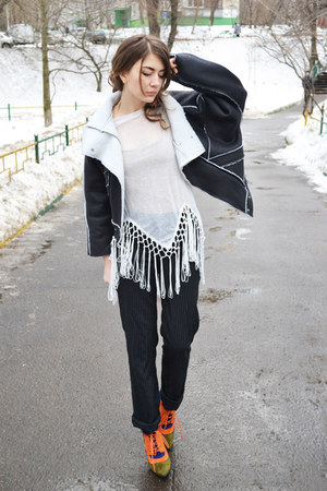 black faux leather dresslily jacket - white tassel zaful top