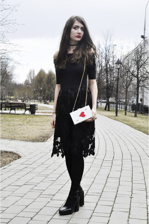 black lace OASAP dress - white OASAP bag