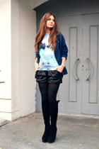 navy denim Zanzea jacket - sky blue OASAP sweatshirt