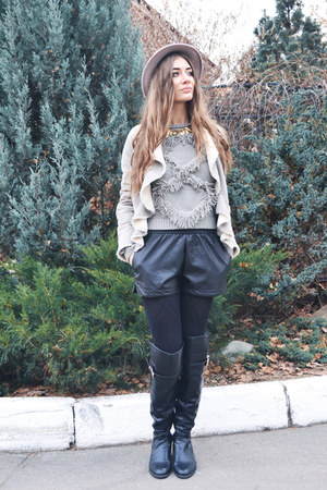 heather gray knit OASAP sweater - black faux leather OASAP shorts