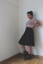 silk Primark shirt - burgundy Dr Martens boots - silk vintage skirt