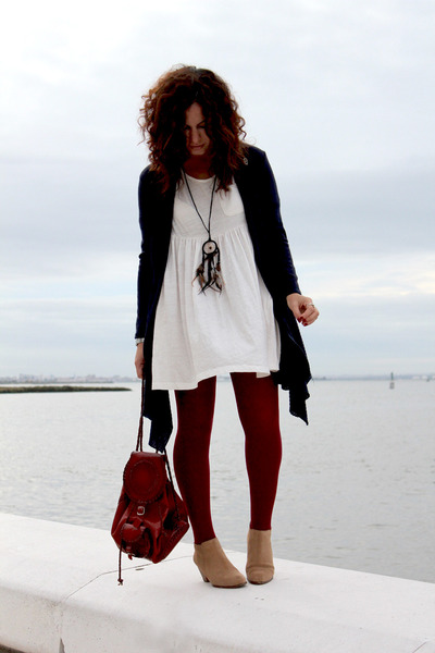 Pepe Jeans London boots - Stefanel dress - navy killah cardigan