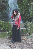 leather Zara jacket - texan Diesel boots - knited Mango sweater - maxi H&M skirt