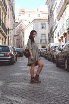 burgundy Dr Martens boots - grunge Stefanel dress