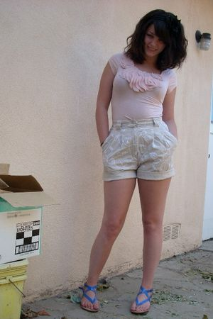 beige thrifted shorts - pink Forever21 top - blue Bamboo shoes - pink
