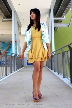 yellow mustard yellow dress - off white floral mags blazer - blue bag