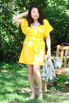 yellow Diane Von Furstenberg dress - white dBoutique scarf - blue necklace - bei