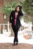 black cardigan - pink Splendid shirt - black J Brand jeans - black Assets by Sar