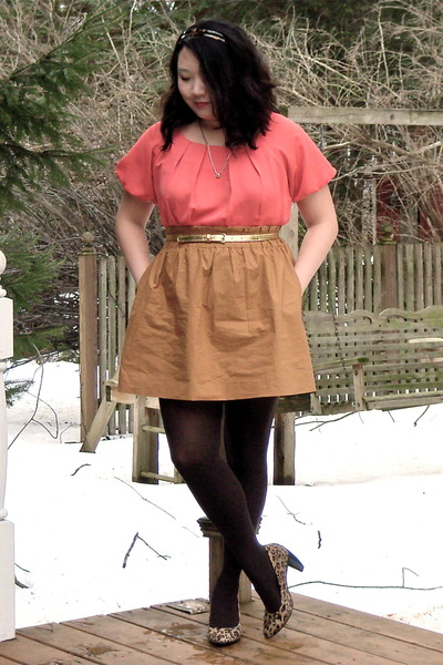 pink Francescas Collections shirt - brown J Crew skirt - brown HUE stockings - b