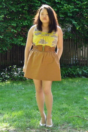 yellow Anthropologie shirt - brown Charlotte Russe belt - brown J Crew skirt - b