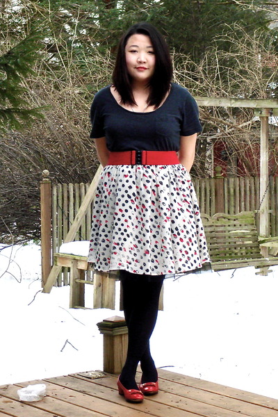gray Old Navy shirt - red Target belt - white Forever21 skirt - black Penneys ti