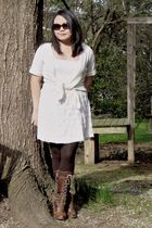 white Ann Taylor Loft sweater - white dress - brown HUE stockings - brown Frye s