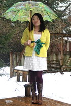yellow J Crew cardigan - white dress - red HUE stockings - green Anthropologie s