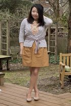 gray Old Navy cardigan - pink J Crew blouse - pink J Crew belt - brown J Crew sk