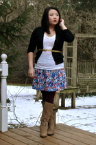 black J Crew sweater - white alternative apparel shirt - blue Forever21 skirt -