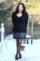 black talbots blazer - black Old Navy shirt - silver Zara skirt - black Assets b