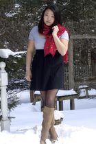 black BeBop Macys dress - pink J Crew scarf - beige Arturo Chiang boots - black