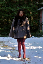 gray Mossimo coat - black Belle Fare scarf - black H&M dress - red HUE stockings