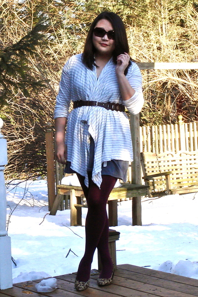 gray Ann Taylor Loft cardigan - gray H&M dress - brown Target belt - red HUE sto