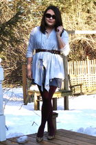 gray Ann Taylor Loft cardigan - gray H&M dress - brown Target belt - red HUE sto