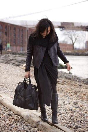 born boots - Alexander Wang dress - faux shearling Simply Vera Vera Wang jacket