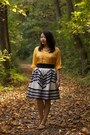 Gold-from-india-blouse-off-white-anthropologie-skirt