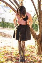 pink Loft blouse - black Expresss skirt - black Merona Target tights - black Sof