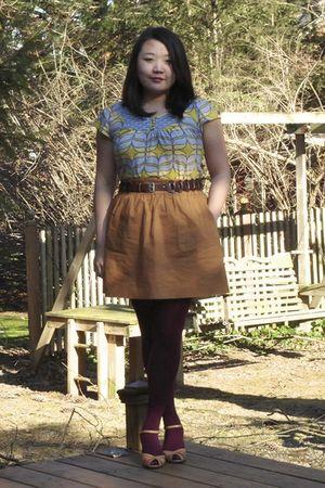 gray Anthropologie shirt - brown Target belt - brown J Crew skirt - red HUE stoc