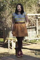 gray Anthropologie shirt - brown Target belt - brown J Crew skirt - red HUE stoc
