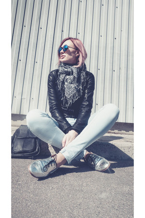 black Zara jacket - Forever 21 sunglasses - asos loafers