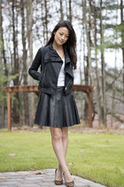 Leather jacket & Skirt
