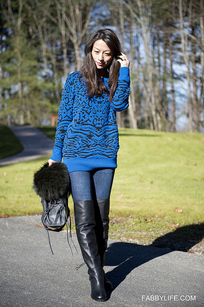 Torn by Ronny Kobo sweater - over the knee Marc by Marc Jacobs boots