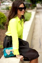 yellow top - black skirt