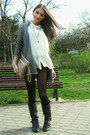 White-h-m-shirt-black-mango-shorts-heather-gray-atmosphere-cardigan