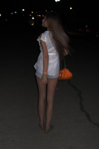 white Zara shirt - carrot orange no name bag - sky blue Pull shorts