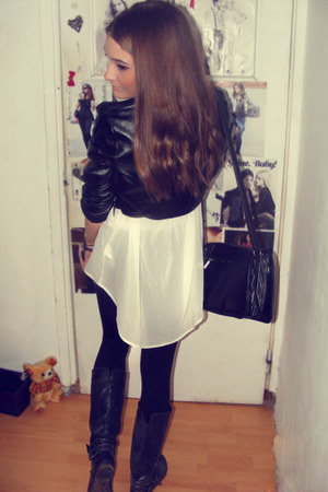 black jacket - black leggings - white H&M shirt
