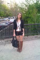 black Zara blazer - white pull&bear t-shirt - black Mango pants