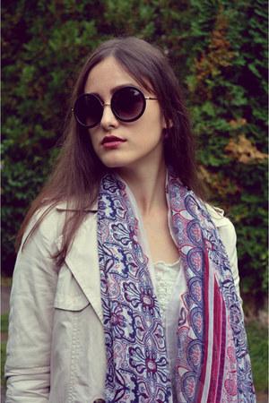 magenta Stradivarius scarf - beige Bershka coat - blue Zara jeans