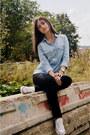 Black-new-yorker-jeans-light-blue-denim-stradivarius-shirt