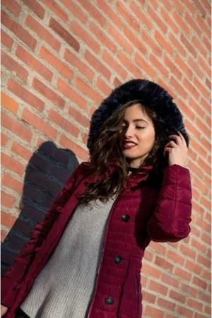 brick red cato jacket - black Zara jeans - beige pull&bear sweater