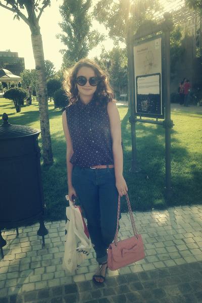 H&M shirt - Bershka jeans - meli melo bag - meli melo sunglasses