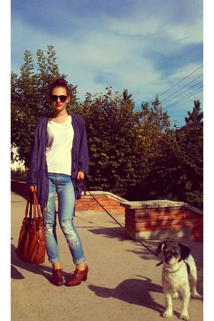 tawny leather Bata boots - periwinkle Lee Cooper jeans - bronze Vero Moda bag