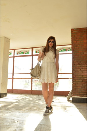 off white Zara Trafaluc Collection dress - black Converse shoes